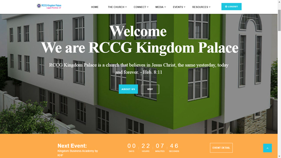 RCCGKingdomPalace.org Screenshot